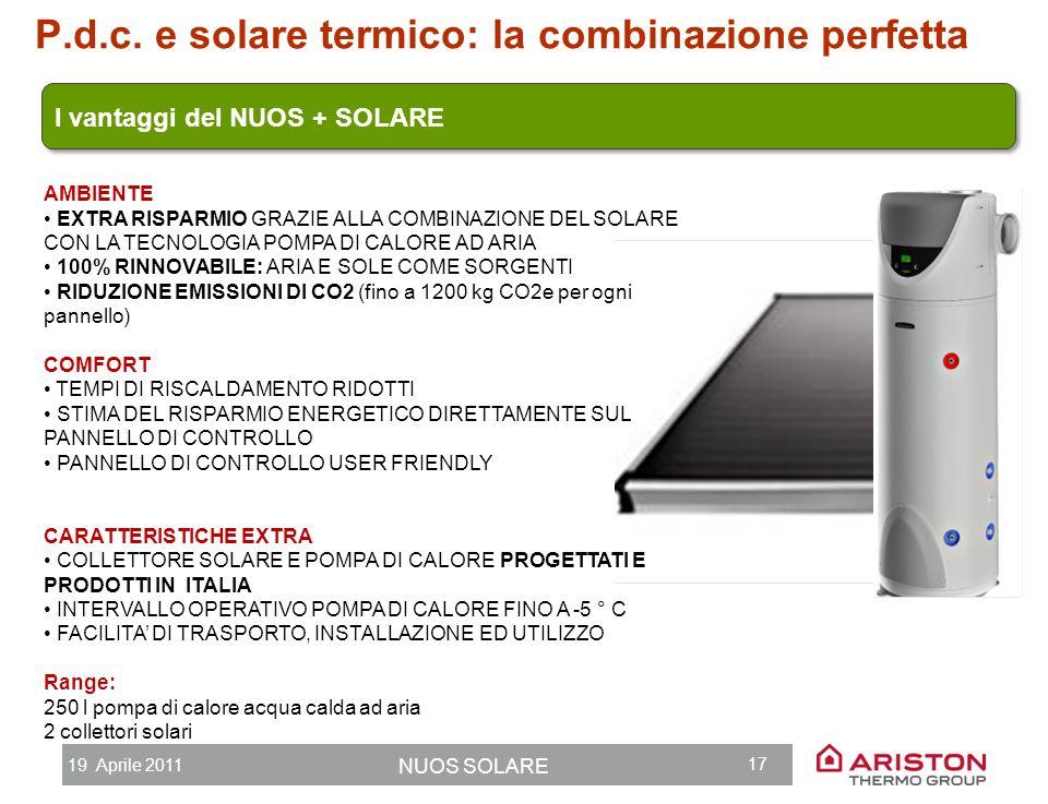 19 Aprile 2011 NUOS SOLARE 16 P.d.c. e solare termico: la combinazione perfetta NUOS SOLARE KAIROS NUOS