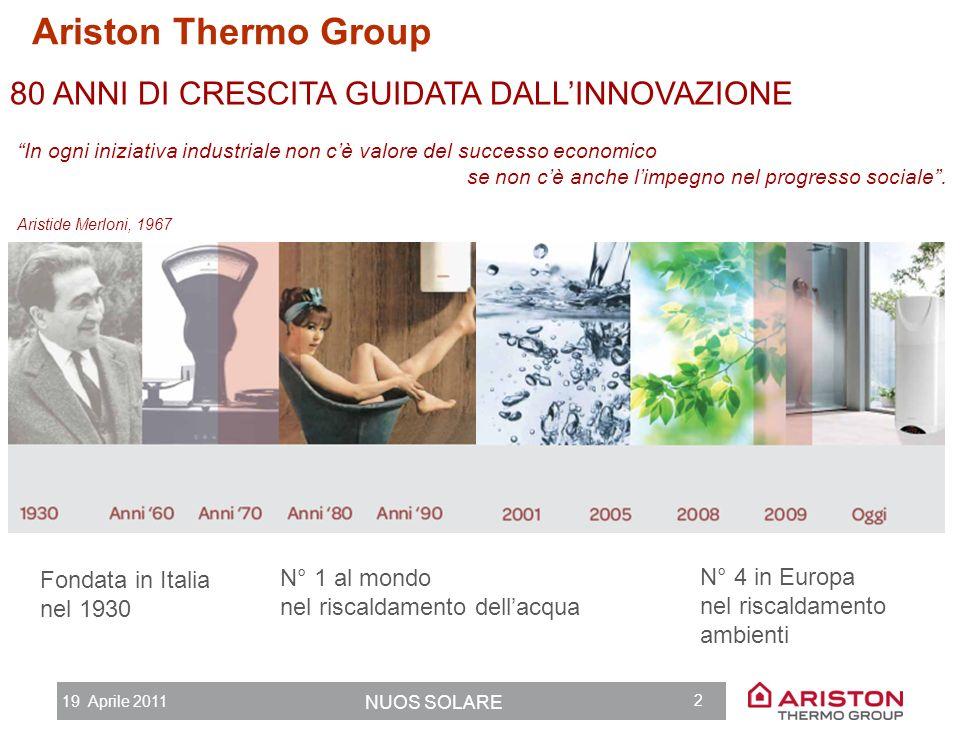 19 Aprile 2011 NUOS SOLARE 1 Agenda 1.Ariston Thermo Group 2.Limportanza dellacqua calda 3.Pompa di calore + Solare termico: la combinazione perfetta