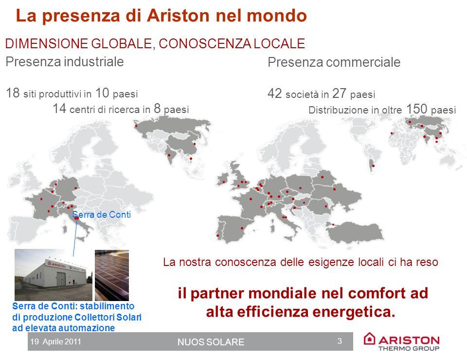 19 Aprile 2011 NUOS SOLARE 2 Ariston Thermo Group 80 ANNI DI CRESCITA GUIDATA DALLINNOVAZIONE In ogni iniziativa industriale non cè valore del success