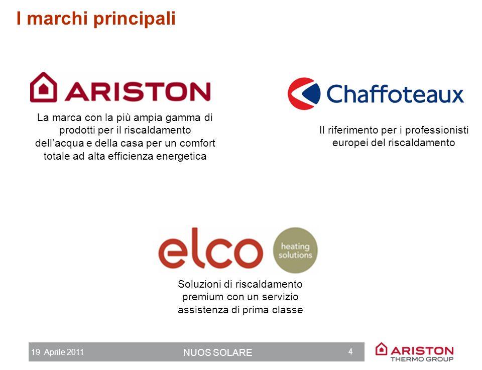 19 Aprile 2011 NUOS SOLARE 3 DIMENSIONE GLOBALE, CONOSCENZA LOCALE Presenza industriale 18 siti produttivi in 10 paesi 14 centri di ricerca in 8 paesi