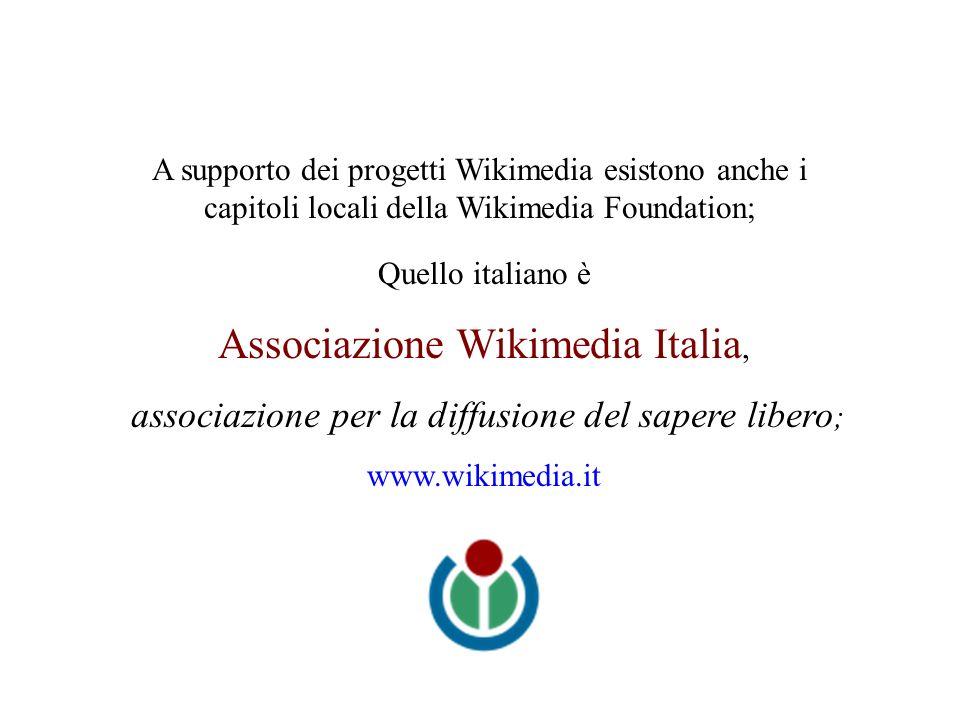 Quello italiano è Associazione Wikimedia Italia, associazione per la diffusione del sapere libero ; www.wikimedia.it A supporto dei progetti Wikimedia