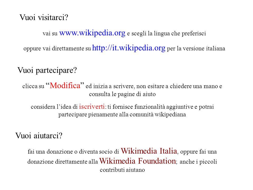 Vuoi visitarci? vai su www.wikipedia.org e scegli la lingua che preferisci oppure vai direttamente su http://it.wikipedia.org per la versione italiana