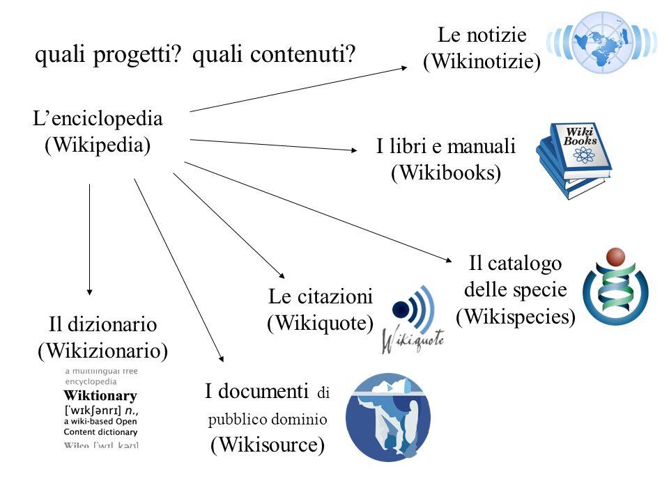 quali progetti? quali contenuti? Lenciclopedia (Wikipedia) I libri e manuali (Wikibooks) Il dizionario (Wikizionario) Le citazioni (Wikiquote) I docum