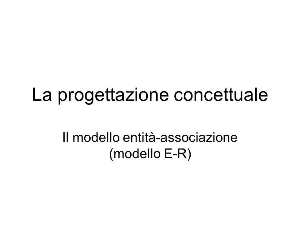 La progettazione concettuale Il modello entità-associazione (modello E-R)
