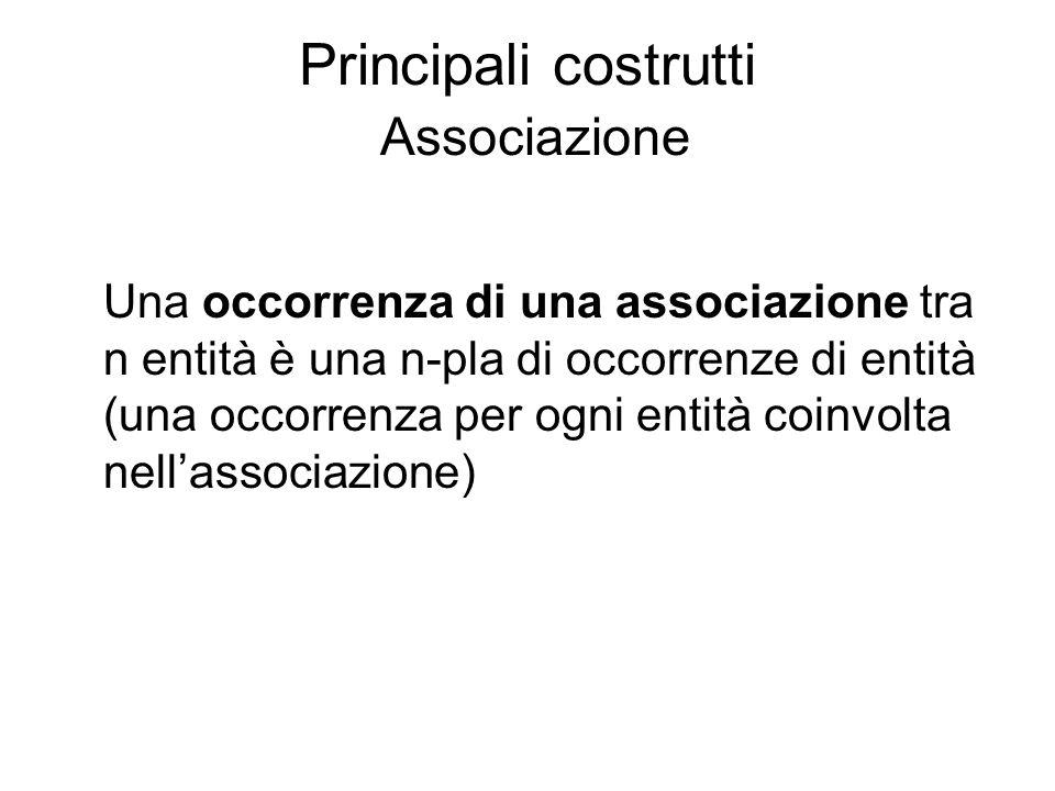 Principali costrutti Associazione Una occorrenza di una associazione tra n entità è una n-pla di occorrenze di entità (una occorrenza per ogni entità