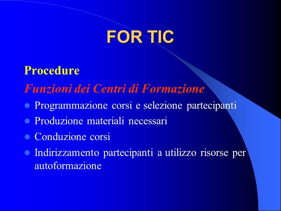 FOR TIC Procedure Funzioni dei Centri di Formazione Programmazione corsi e selezione partecipanti Produzione materiali necessari Conduzione corsi Indi