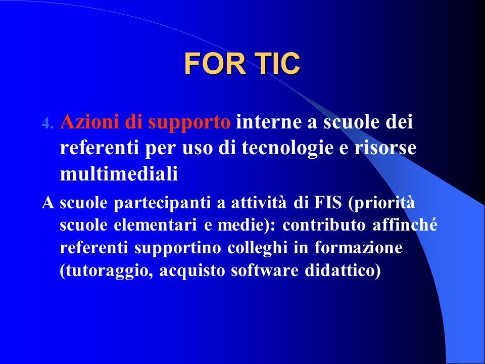FOR TIC 4. Azioni di supporto interne a scuole dei referenti per uso di tecnologie e risorse multimediali A scuole partecipanti a attività di FIS (pri