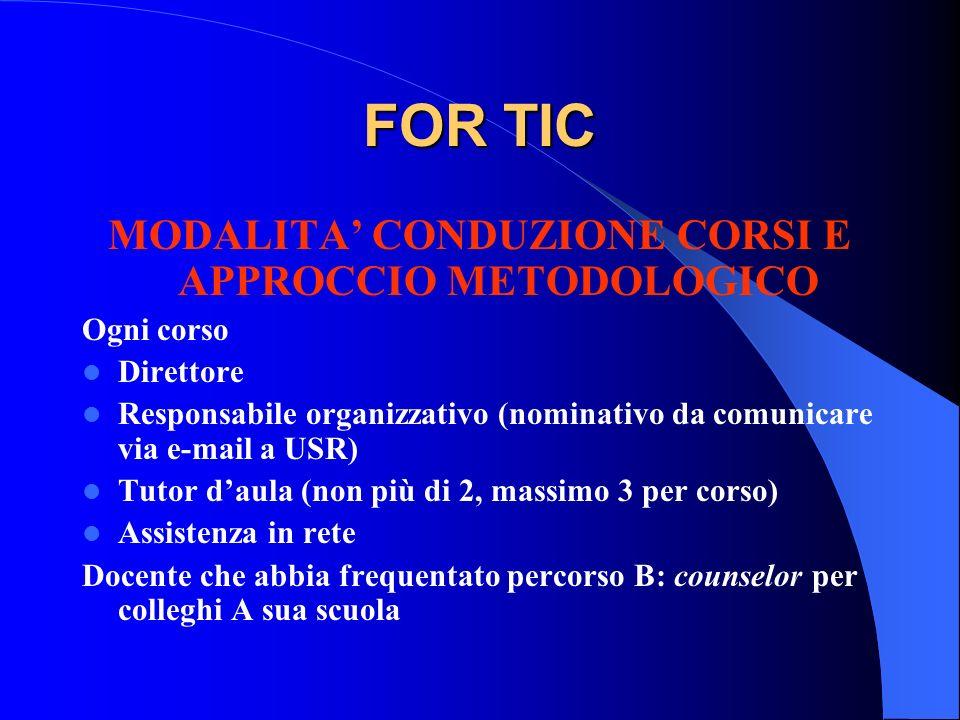 FOR TIC MODALITA CONDUZIONE CORSI E APPROCCIO METODOLOGICO Ogni corso Direttore Responsabile organizzativo (nominativo da comunicare via e-mail a USR)