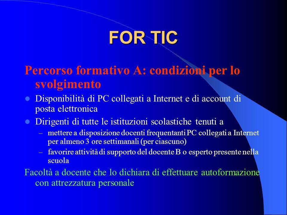 FOR TIC Percorso formativo A: condizioni per lo svolgimento Disponibilità di PC collegati a Internet e di account di posta elettronica Dirigenti di tu