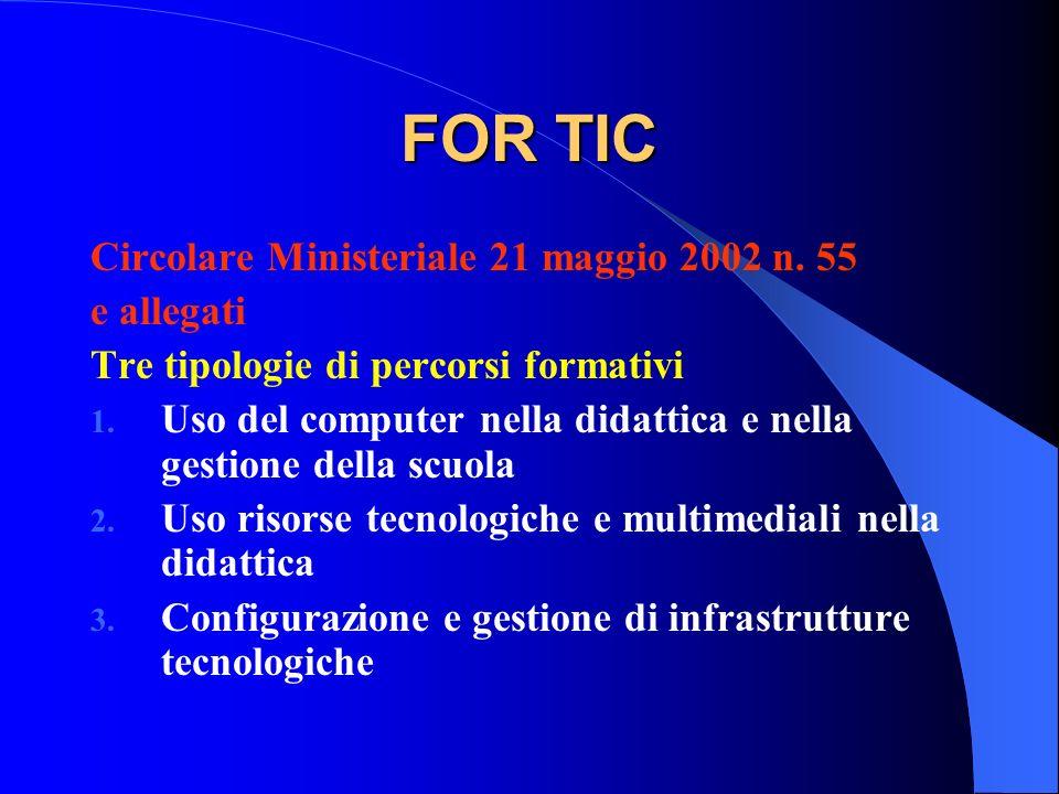 FOR TIC Circolare Ministeriale 21 maggio 2002 n. 55 e allegati Tre tipologie di percorsi formativi 1. Uso del computer nella didattica e nella gestion