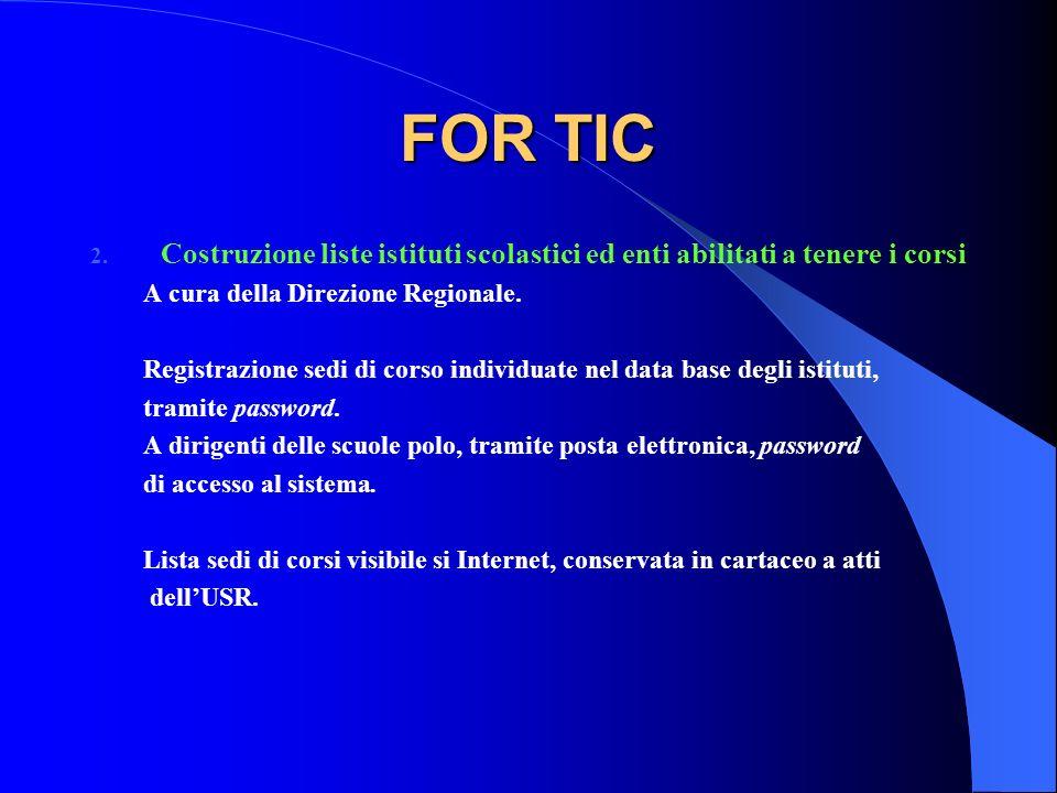 FOR TIC 2. Costruzione liste istituti scolastici ed enti abilitati a tenere i corsi A cura della Direzione Regionale. Registrazione sedi di corso indi