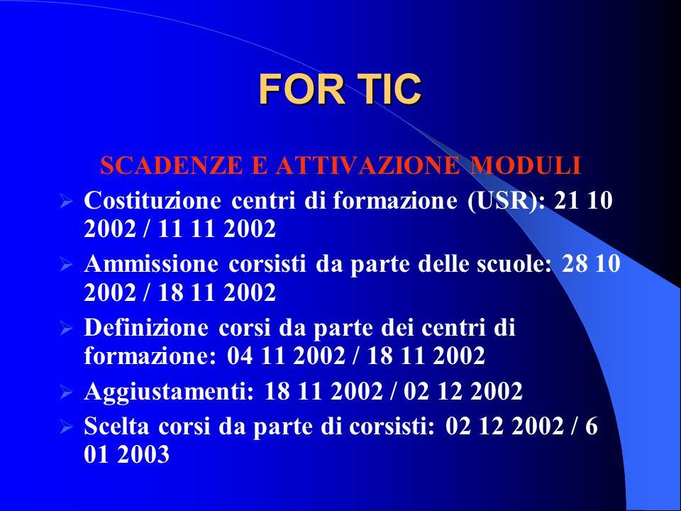 FOR TIC SCADENZE E ATTIVAZIONE MODULI Costituzione centri di formazione (USR): 21 10 2002 / 11 11 2002 Ammissione corsisti da parte delle scuole: 28 1