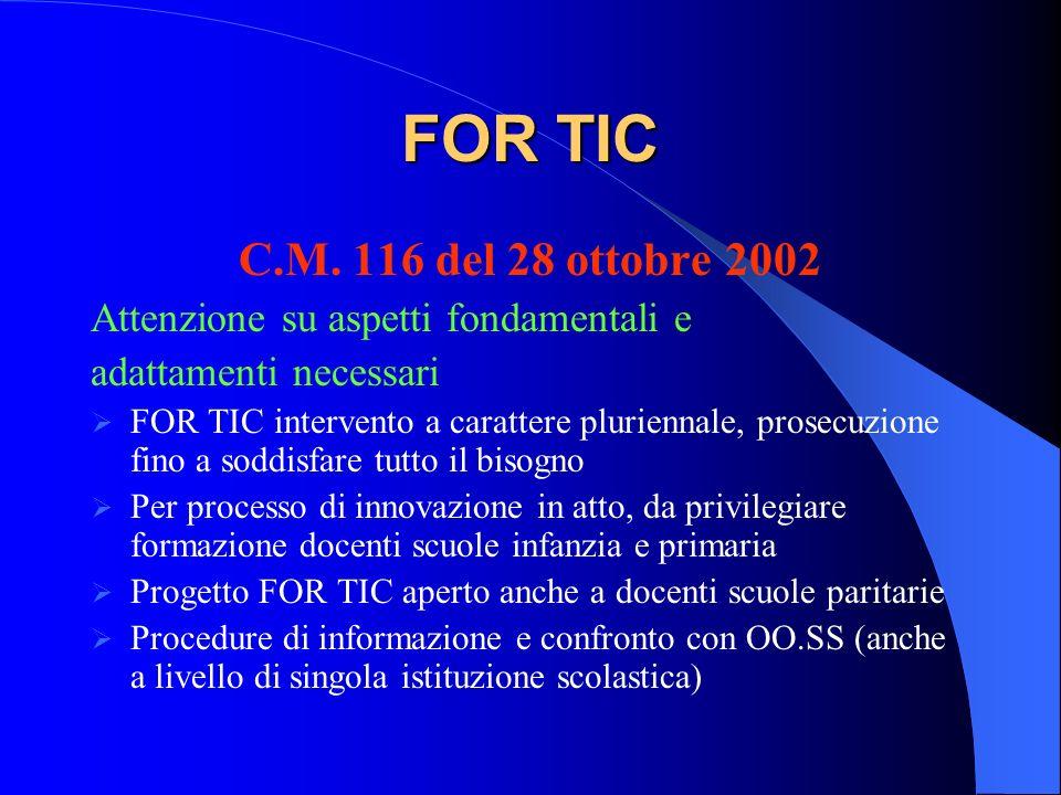 FOR TIC C.M. 116 del 28 ottobre 2002 Attenzione su aspetti fondamentali e adattamenti necessari FOR TIC intervento a carattere pluriennale, prosecuzio
