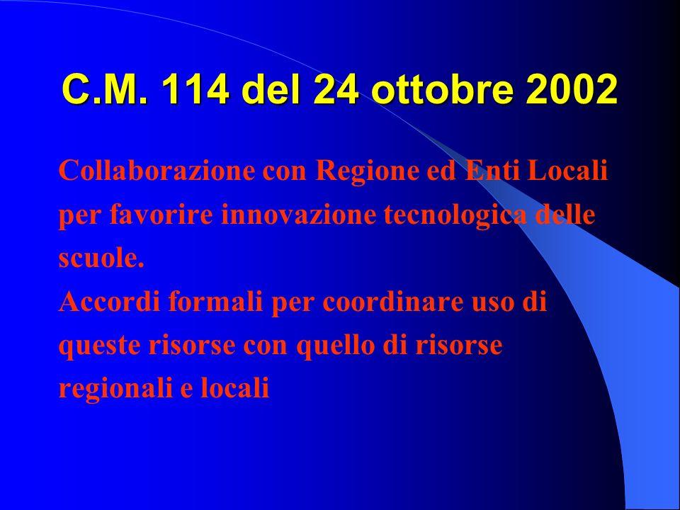 C.M. 114 del 24 ottobre 2002 Collaborazione con Regione ed Enti Locali per favorire innovazione tecnologica delle scuole. Accordi formali per coordina