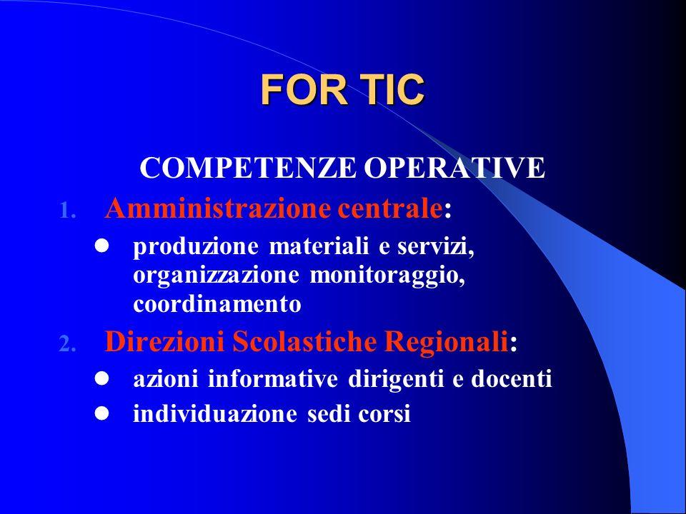 FOR TIC COMPETENZE OPERATIVE 1. Amministrazione centrale: produzione materiali e servizi, organizzazione monitoraggio, coordinamento 2. Direzioni Scol