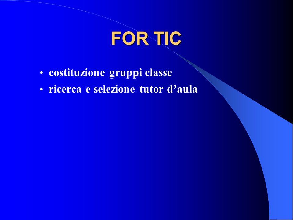 FOR TIC costituzione gruppi classe ricerca e selezione tutor daula