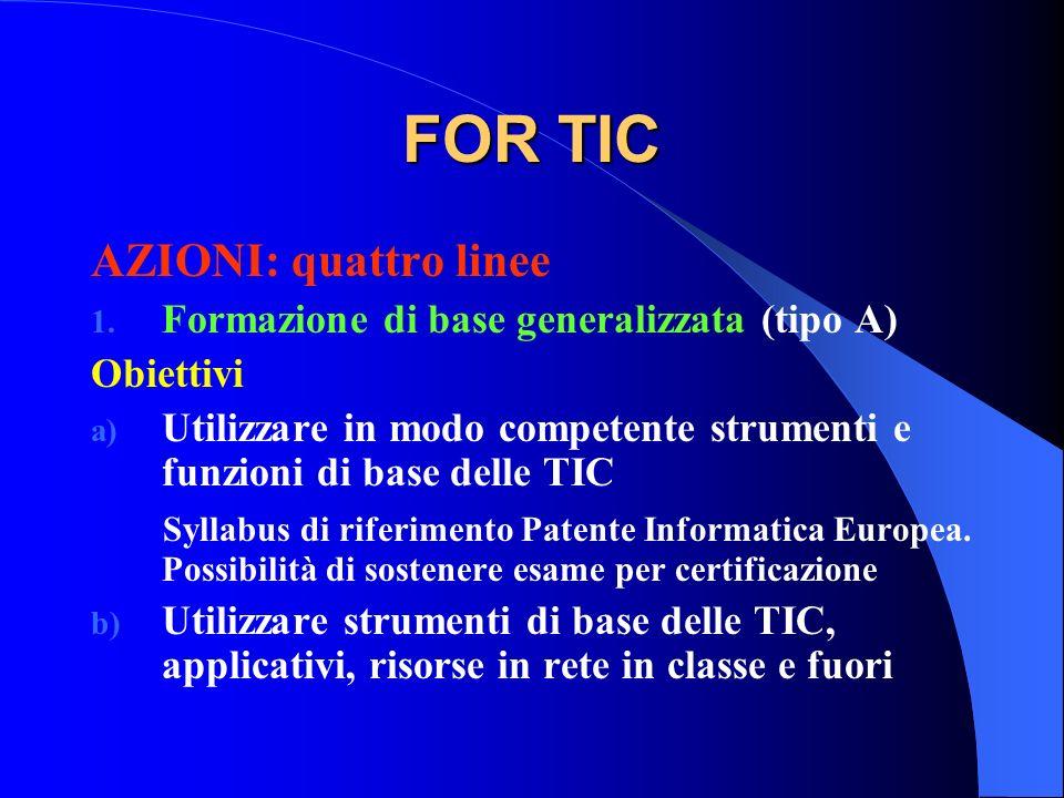 FOR TIC AZIONI: quattro linee 1. Formazione di base generalizzata (tipo A) Obiettivi a) Utilizzare in modo competente strumenti e funzioni di base del