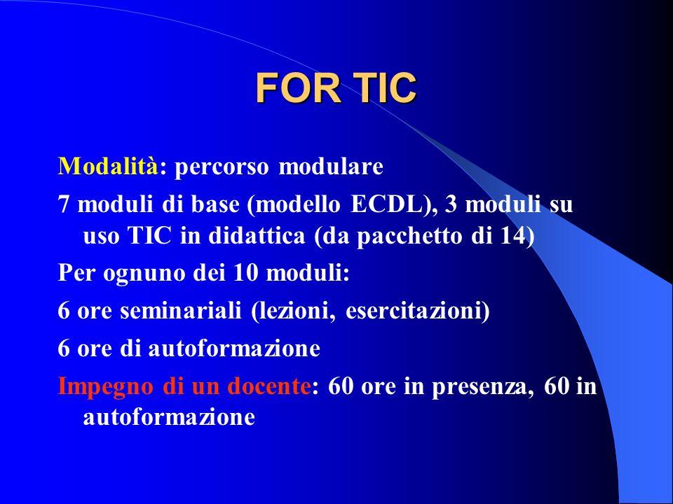 FOR TIC Modalità: percorso modulare 7 moduli di base (modello ECDL), 3 moduli su uso TIC in didattica (da pacchetto di 14) Per ognuno dei 10 moduli: 6