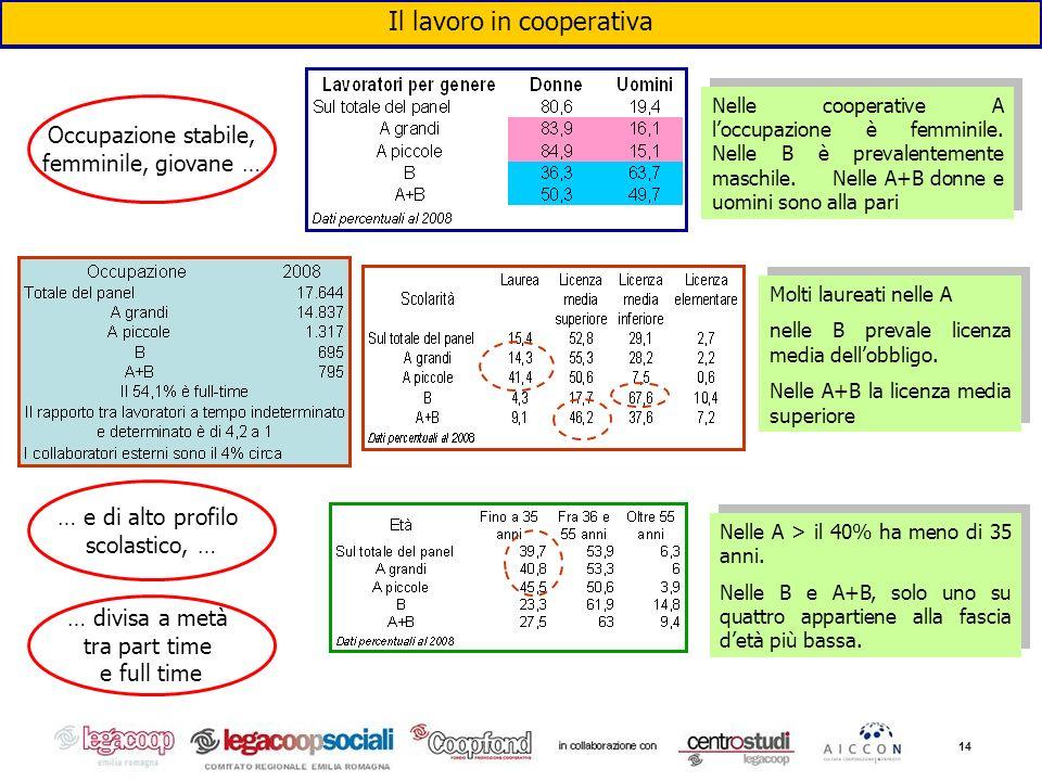 14 Il lavoro in cooperativa Nelle cooperative A loccupazione è femminile. Nelle B è prevalentemente maschile. Nelle A+B donne e uomini sono alla pari