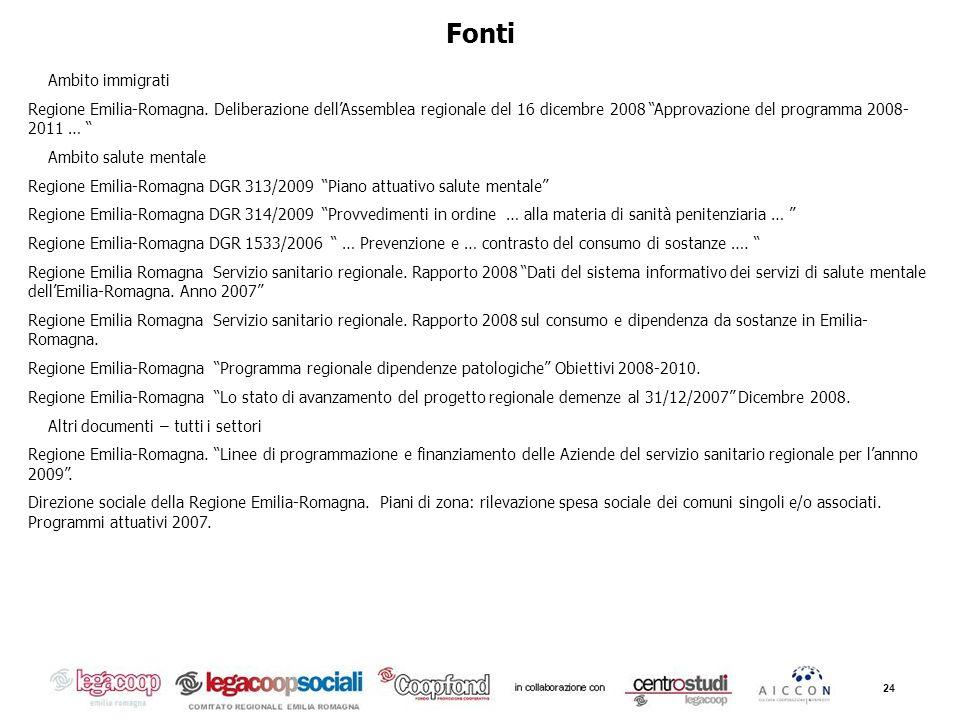 24 Fonti Ambito immigrati Regione Emilia-Romagna. Deliberazione dellAssemblea regionale del 16 dicembre 2008 Approvazione del programma 2008- 2011 … A