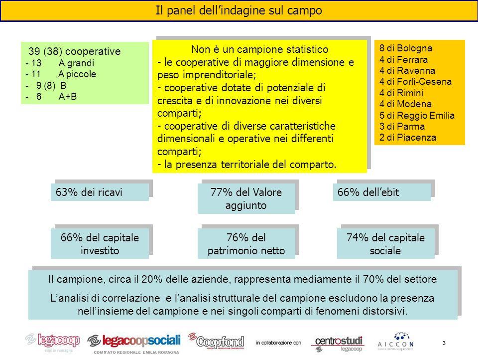 3 Il panel dellindagine sul campo 39 (38) cooperative - 13 A grandi - 11 A piccole - 9 (8) B - 6 A+B 8 di Bologna 4 di Ferrara 4 di Ravenna 4 di Forlì