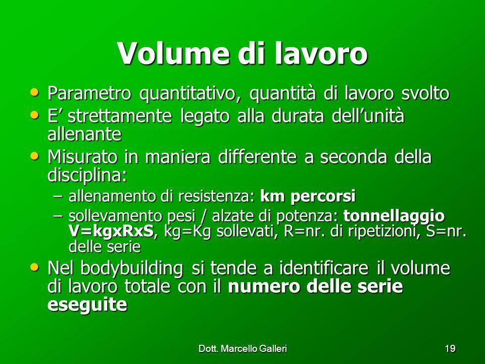Dott. Marcello Galleri19 Volume di lavoro Parametro quantitativo, quantità di lavoro svolto Parametro quantitativo, quantità di lavoro svolto E strett
