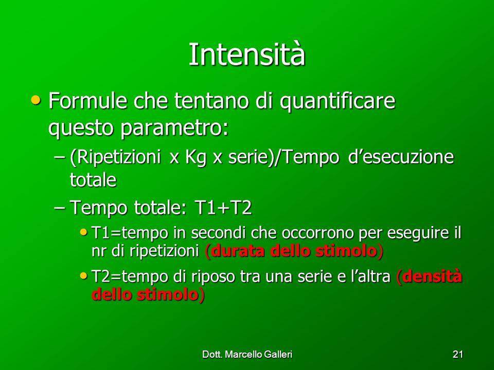 Dott. Marcello Galleri21 Intensità Formule che tentano di quantificare questo parametro: Formule che tentano di quantificare questo parametro: –(Ripet
