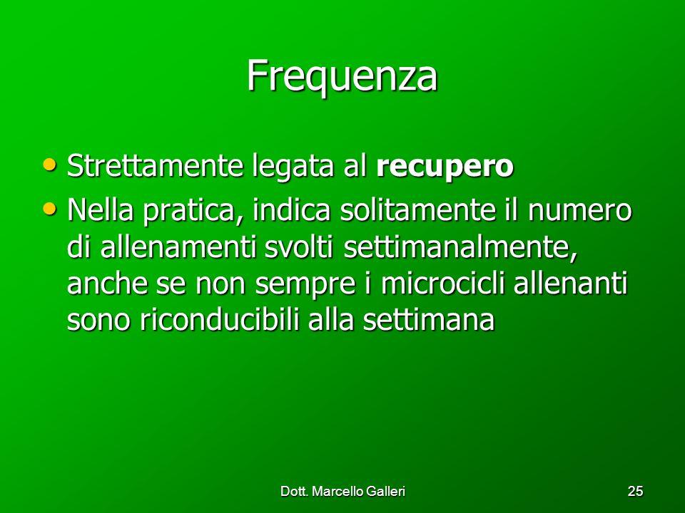 Dott. Marcello Galleri25 Frequenza Strettamente legata al recupero Strettamente legata al recupero Nella pratica, indica solitamente il numero di alle