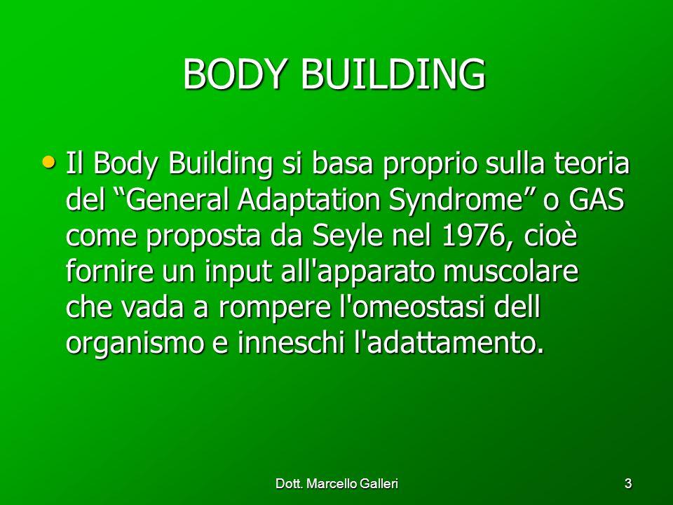 Dott. Marcello Galleri3 BODY BUILDING BODY BUILDING Il Body Building si basa proprio sulla teoria del General Adaptation Syndrome o GAS come proposta