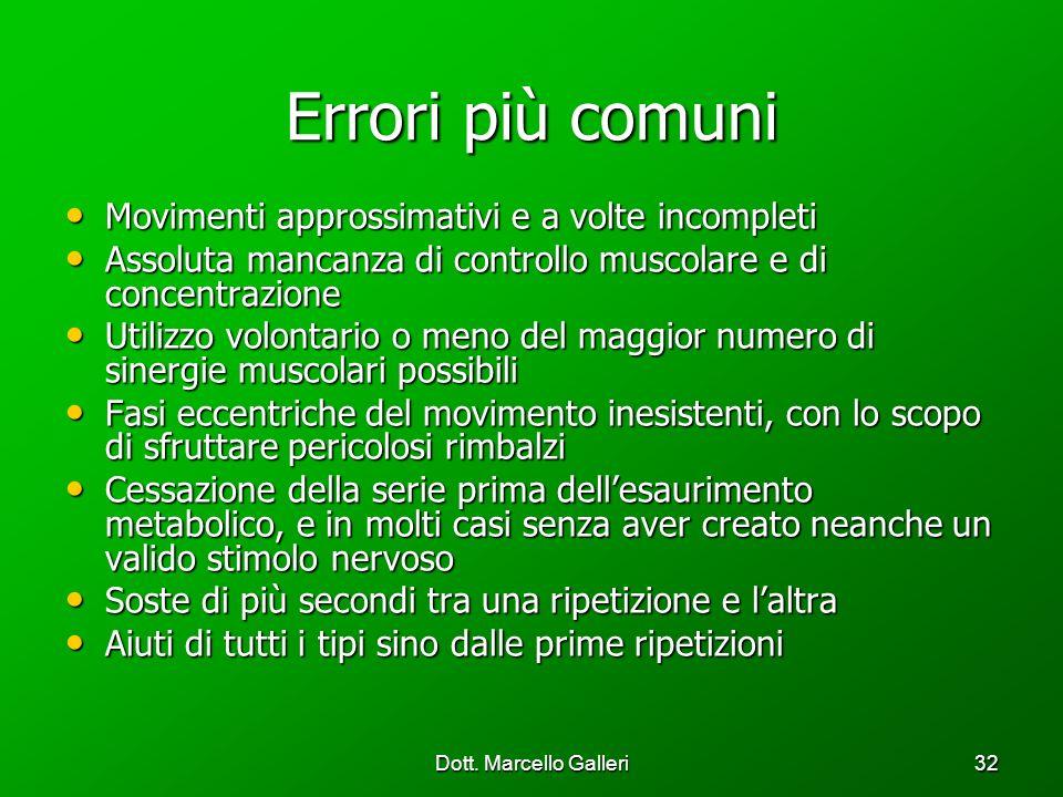 Dott. Marcello Galleri32 Errori più comuni Movimenti approssimativi e a volte incompleti Movimenti approssimativi e a volte incompleti Assoluta mancan