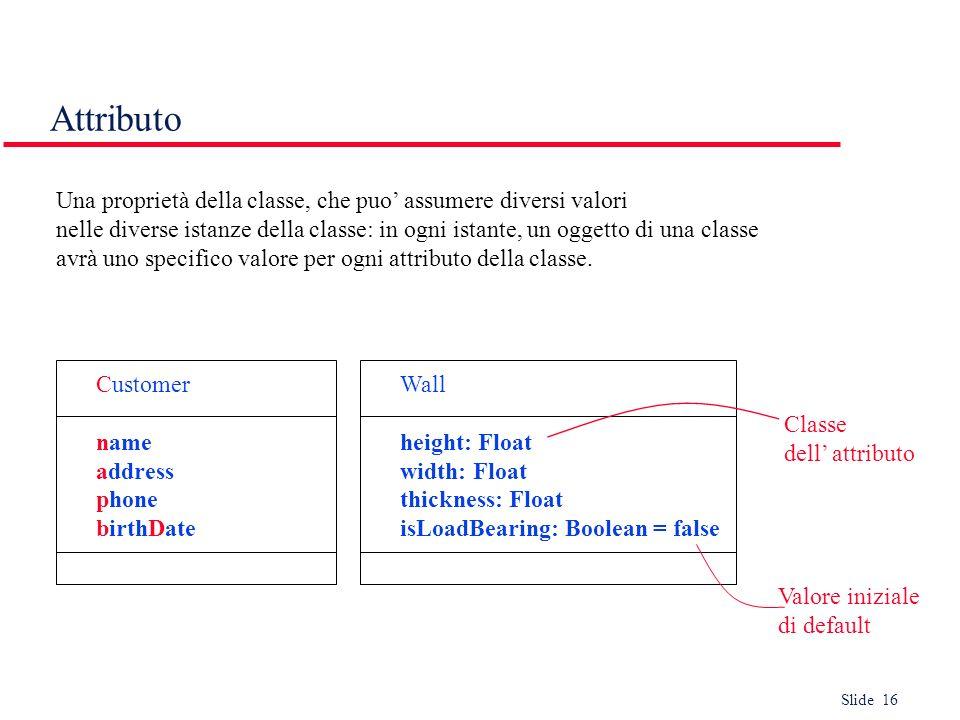 Slide 16 Attributo Una proprietà della classe, che puo assumere diversi valori nelle diverse istanze della classe: in ogni istante, un oggetto di una