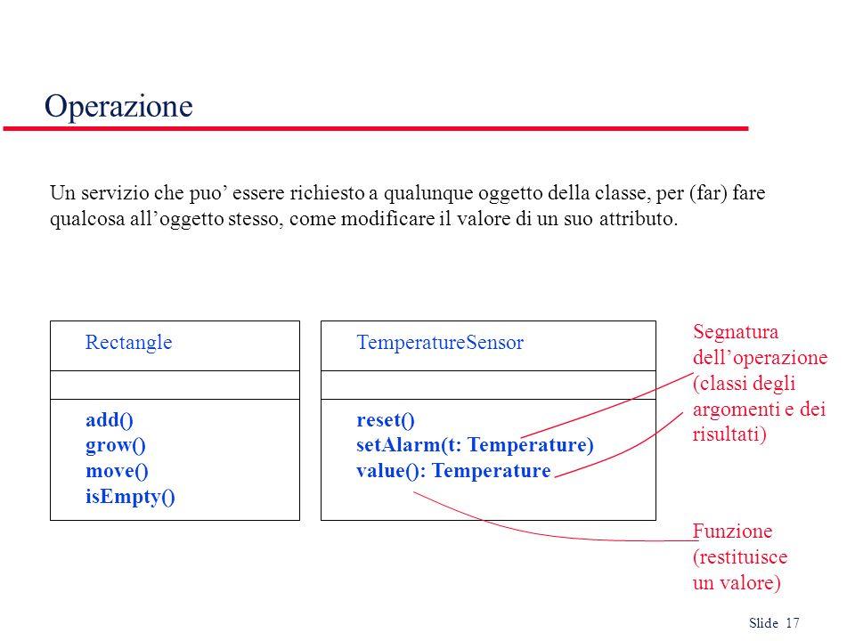 Slide 17 Operazione Un servizio che puo essere richiesto a qualunque oggetto della classe, per (far) fare qualcosa alloggetto stesso, come modificare