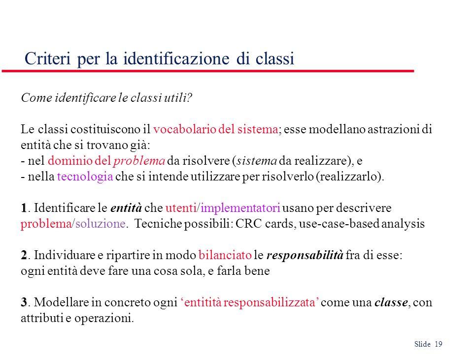Slide 19 Criteri per la identificazione di classi Come identificare le classi utili? Le classi costituiscono il vocabolario del sistema; esse modellan