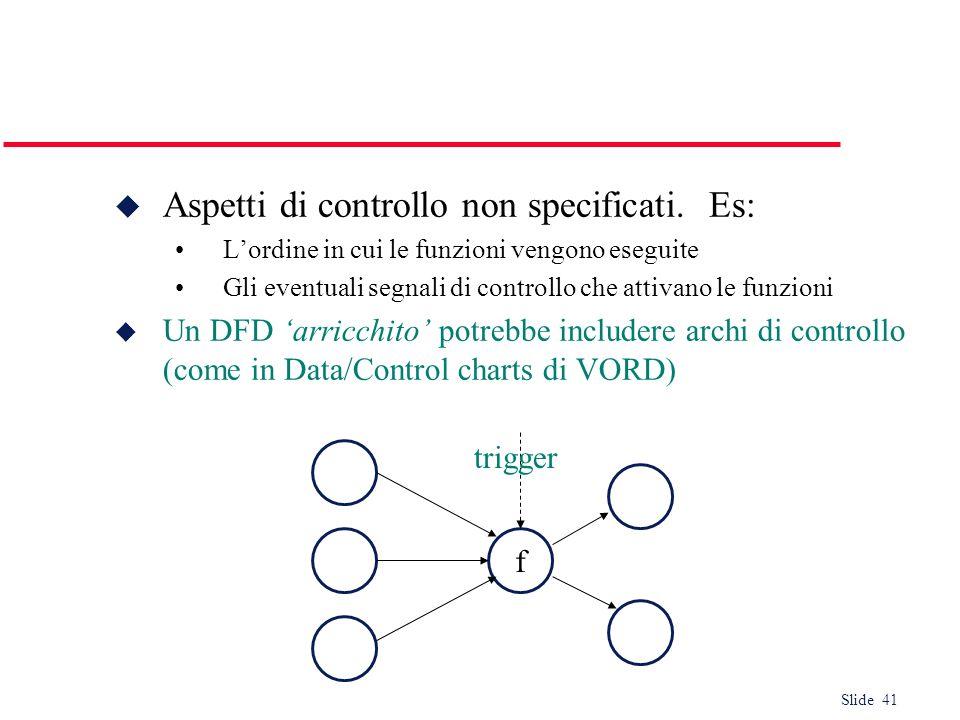 Slide 41 Aspetti di controllo non specificati. Es: Lordine in cui le funzioni vengono eseguite Gli eventuali segnali di controllo che attivano le funz