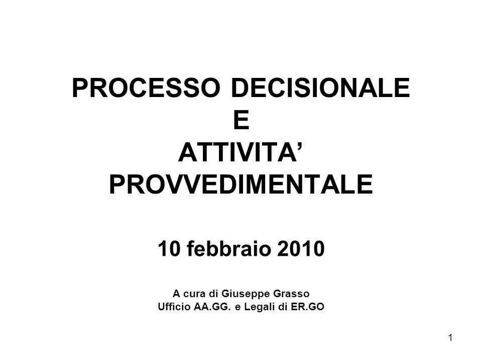 1 PROCESSO DECISIONALE E ATTIVITA PROVVEDIMENTALE 10 febbraio 2010 A cura di Giuseppe Grasso Ufficio AA.GG. e Legali di ER.GO