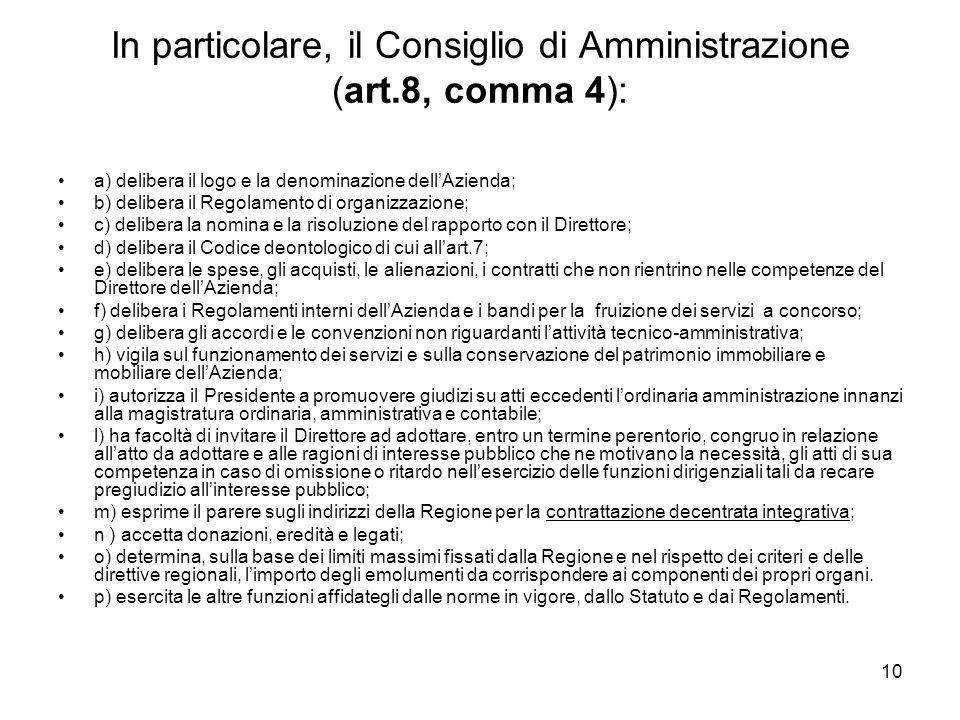 10 In particolare, il Consiglio di Amministrazione (art.8, comma 4): a) delibera il logo e la denominazione dellAzienda; b) delibera il Regolamento di