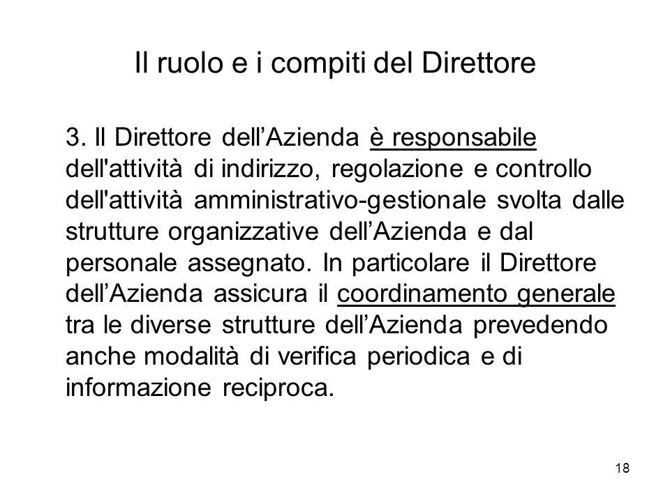 18 Il ruolo e i compiti del Direttore 3. Il Direttore dellAzienda è responsabile dell'attività di indirizzo, regolazione e controllo dell'attività amm