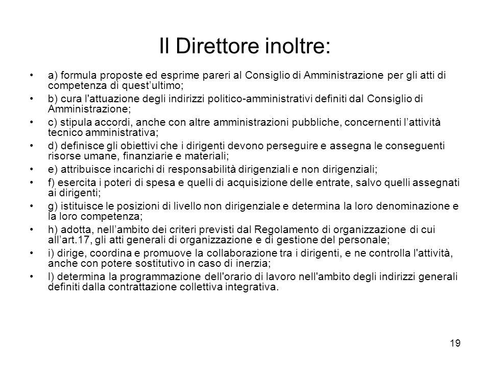 19 Il Direttore inoltre: a) formula proposte ed esprime pareri al Consiglio di Amministrazione per gli atti di competenza di questultimo; b) cura l'at