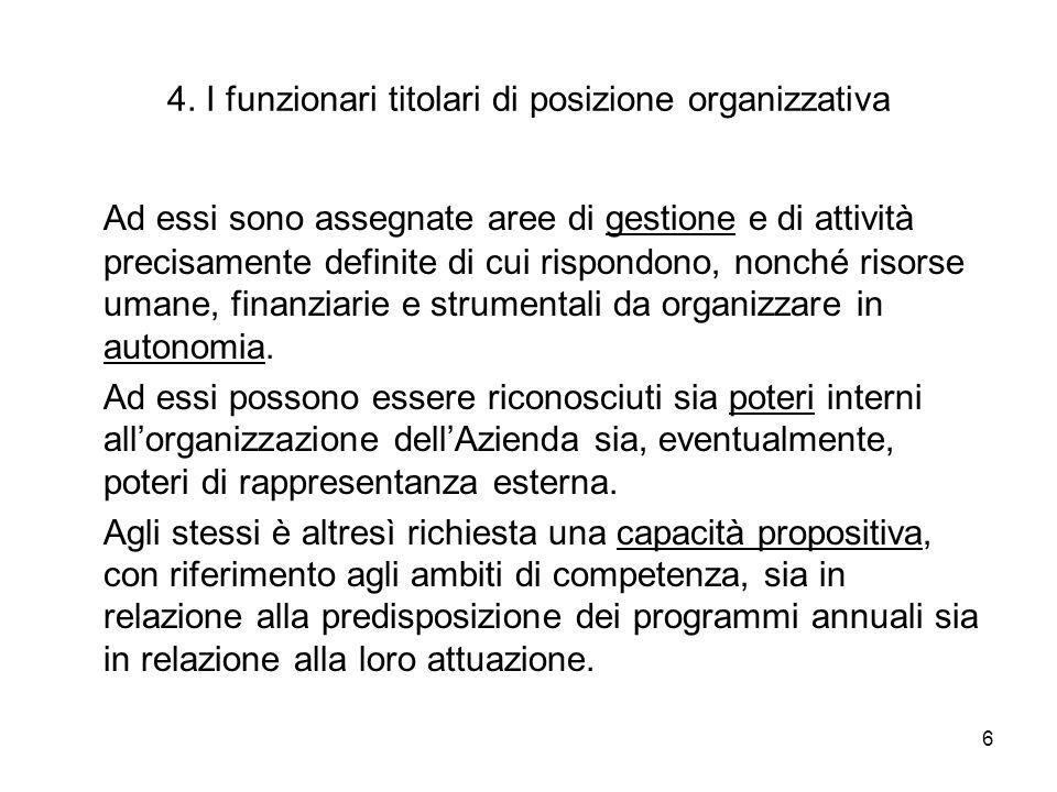 6 4. I funzionari titolari di posizione organizzativa Ad essi sono assegnate aree di gestione e di attività precisamente definite di cui rispondono, n