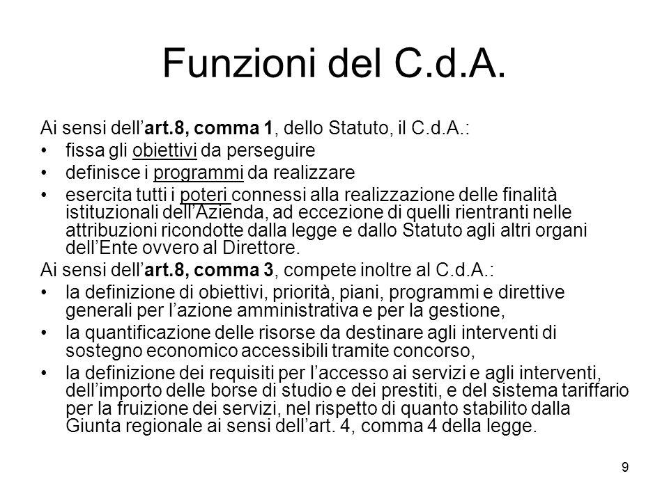 10 In particolare, il Consiglio di Amministrazione (art.8, comma 4): a) delibera il logo e la denominazione dellAzienda; b) delibera il Regolamento di organizzazione; c) delibera la nomina e la risoluzione del rapporto con il Direttore; d) delibera il Codice deontologico di cui allart.7; e) delibera le spese, gli acquisti, le alienazioni, i contratti che non rientrino nelle competenze del Direttore dellAzienda; f) delibera i Regolamenti interni dellAzienda e i bandi per la fruizione dei servizi a concorso; g) delibera gli accordi e le convenzioni non riguardanti lattività tecnico-amministrativa; h) vigila sul funzionamento dei servizi e sulla conservazione del patrimonio immobiliare e mobiliare dellAzienda; i) autorizza il Presidente a promuovere giudizi su atti eccedenti lordinaria amministrazione innanzi alla magistratura ordinaria, amministrativa e contabile; l) ha facoltà di invitare il Direttore ad adottare, entro un termine perentorio, congruo in relazione allatto da adottare e alle ragioni di interesse pubblico che ne motivano la necessità, gli atti di sua competenza in caso di omissione o ritardo nellesercizio delle funzioni dirigenziali tali da recare pregiudizio allinteresse pubblico; m) esprime il parere sugli indirizzi della Regione per la contrattazione decentrata integrativa; n ) accetta donazioni, eredità e legati; o) determina, sulla base dei limiti massimi fissati dalla Regione e nel rispetto dei criteri e delle direttive regionali, limporto degli emolumenti da corrispondere ai componenti dei propri organi.