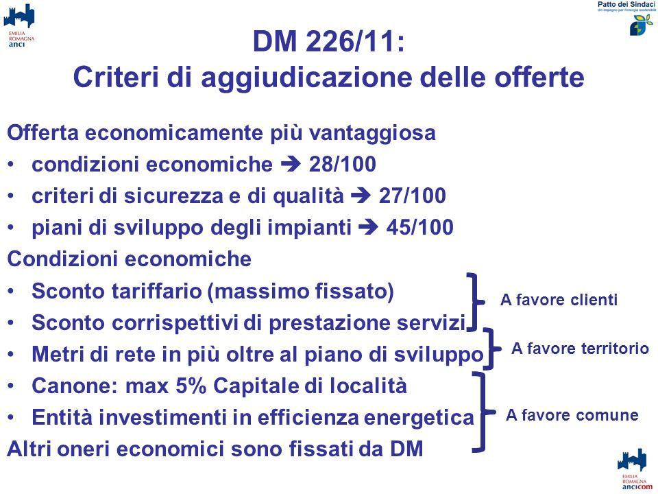 DM 226/11: Criteri di aggiudicazione delle offerte Offerta economicamente più vantaggiosa condizioni economiche 28/100 criteri di sicurezza e di quali