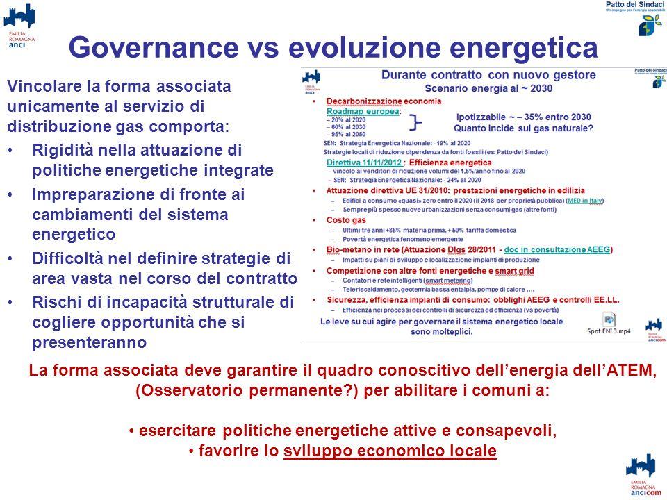 Governance vs evoluzione energetica Vincolare la forma associata unicamente al servizio di distribuzione gas comporta: Rigidità nella attuazione di po