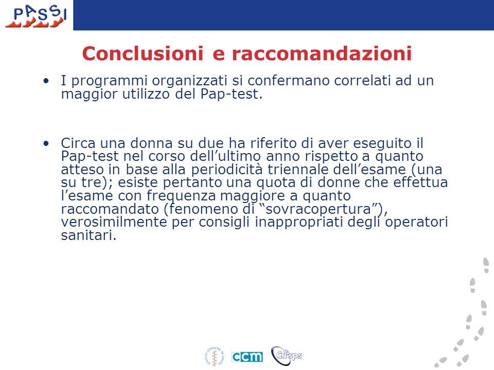 Conclusioni e raccomandazioni I programmi organizzati si confermano correlati ad un maggior utilizzo del Pap-test. Circa una donna su due ha riferito