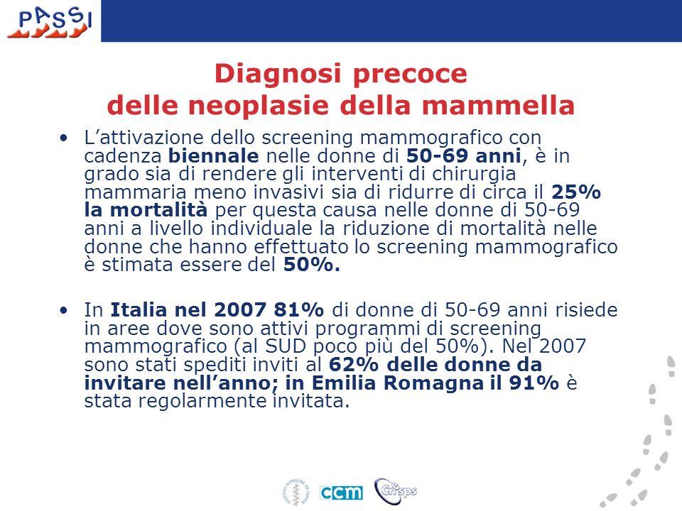 Diagnosi precoce delle neoplasie della mammella Lattivazione dello screening mammografico con cadenza biennale nelle donne di 50-69 anni, è in grado s