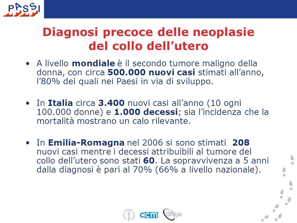 Diagnosi precoce delle neoplasie del colon-retto Nel 2007 in Italia le persone di 50-69 anni inserite nel programma di screening colorettale sono state circa 6 milioni (47% della popolazione target); lestensione dei programmi mostra un evidente gradiente Nord-Sud rispettivamente 72% e 10%.