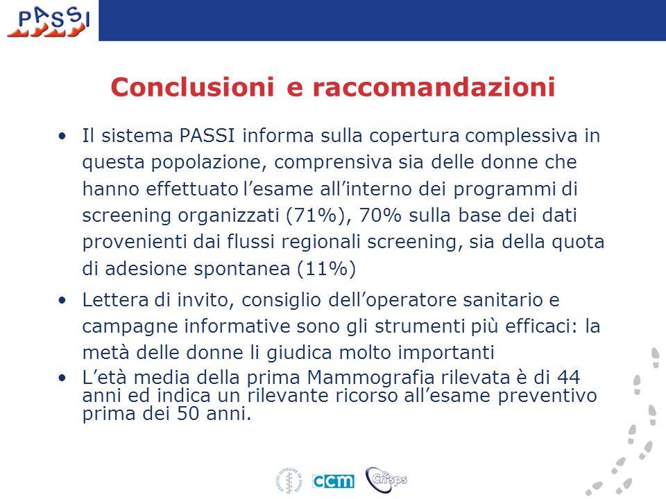 Conclusioni e raccomandazioni Il sistema PASSI informa sulla copertura complessiva in questa popolazione, comprensiva sia delle donne che hanno effett