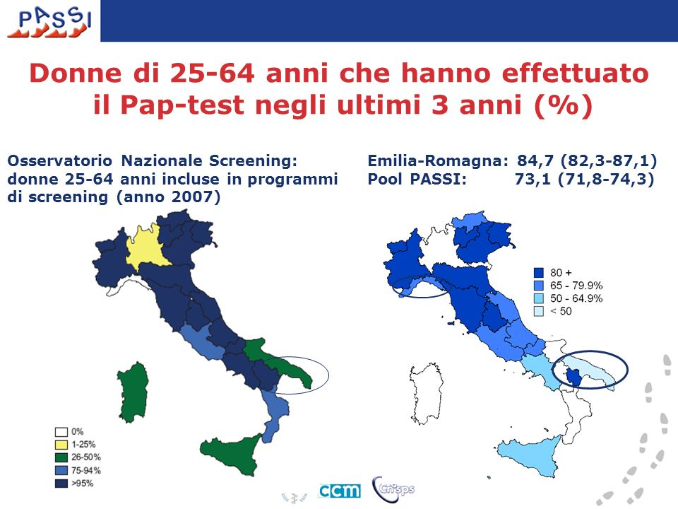 Emilia-Romagna: 84,7 (82,3-87,1) Pool PASSI: 73,1 (71,8-74,3) Donne di 25-64 anni che hanno effettuato il Pap-test negli ultimi 3 anni (%) Osservatori