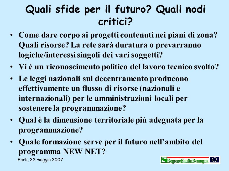 Forlì, 22 maggio 2007 Quali sfide per il futuro? Quali nodi critici? Come dare corpo ai progetti contenuti nei piani di zona? Quali risorse? La rete s