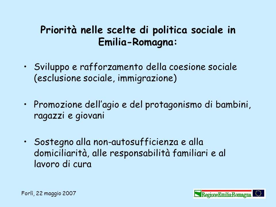 Forlì, 22 maggio 2007 Priorità nelle scelte di politica sociale in Emilia-Romagna: Sviluppo e rafforzamento della coesione sociale (esclusione sociale