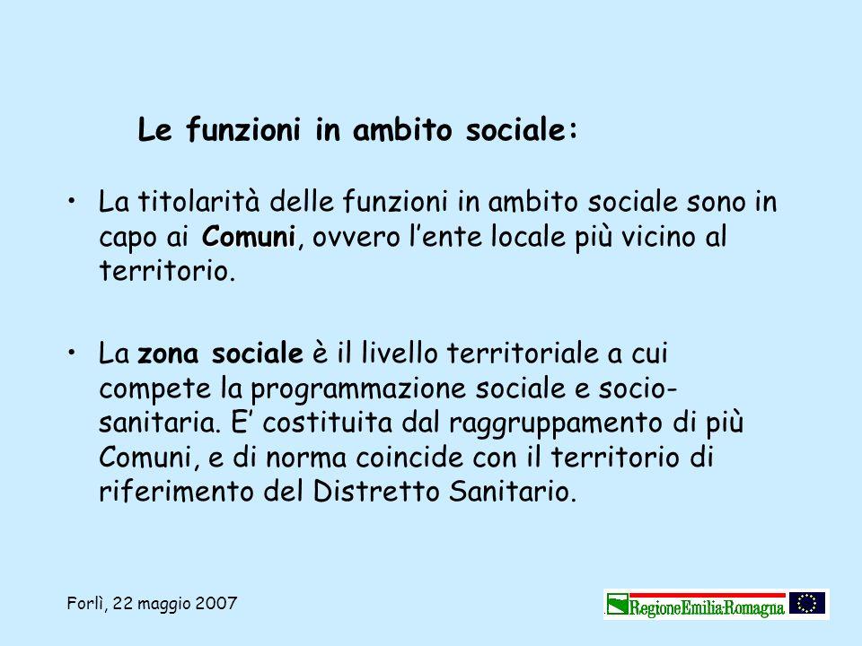 Forlì, 22 maggio 2007 ComuniLa titolarità delle funzioni in ambito sociale sono in capo ai Comuni, ovvero lente locale più vicino al territorio. La zo